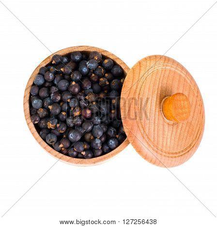 Dried Fruits of Juniper, Seasoning Isolated on White Background Studio Photo