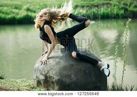 Stylish Woman Near Lake