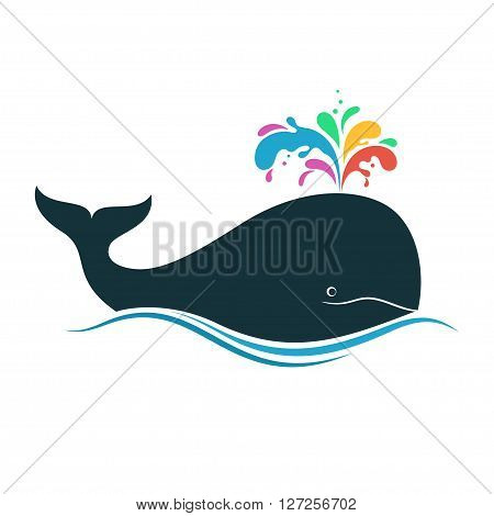 Whale with multicolored fountain blow for creativity diversity joy imagination concept