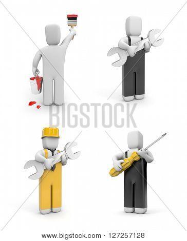 People at work. 3d illustration set