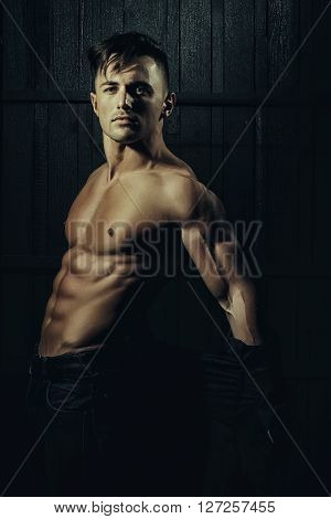 Man In Shirt With Muscular Torso