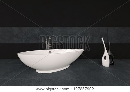 Ivory finished bathtub on marble surface with containers beside it below blank area for copy space. 3d Rendering.