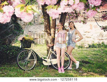girls in spring garden
