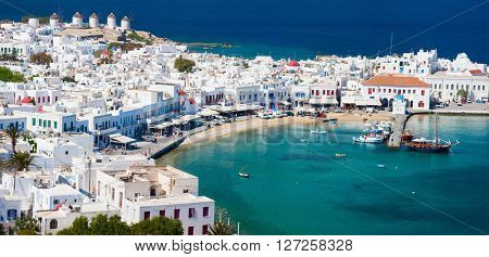 Panorama of traditional greek village with white houses on Mykonos Island, Greece, Europe