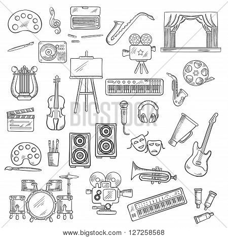 Entertainment themed sketches with palettes, paint brushes and easel, movie cameras and film reel, microphone and musical instruments, theatre scene, tragedy and comedy masks, loudspeakers and headphones, megaphone and clapperboard