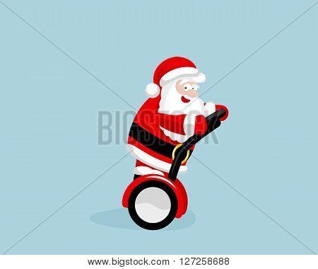 Santa Claus on the segway. Vector illustration. EPS 8. No transparency. No gradients.
