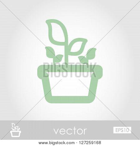 Plant in pot icon outline isolated garden flowerpot. Vector Illustration eps 10