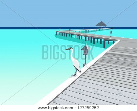 Heron is on the tropical resort wooden pier vector illustration
