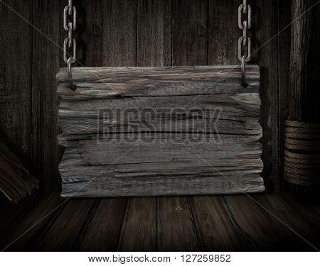 blank wood sign over old ship desk scene
