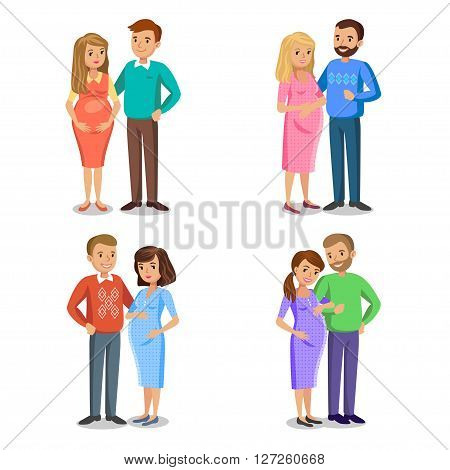 Set of typical family in love expectant parents pregnant woman with her husband. People couples pregnant woman with husband vector illustration
