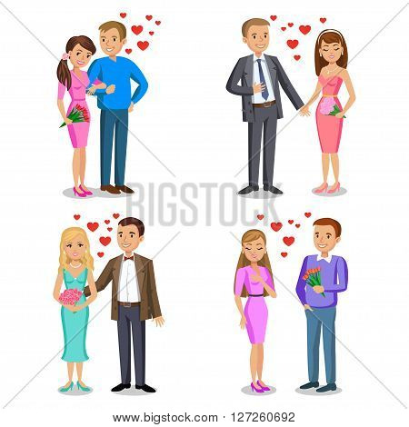 Set of Happy couples. Romantic couple love relationship and dating concept. Man gives woman bouquet. Couple vector illustration isolated on white background
