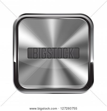 Metal button. With chrome frame. Zoom out icon. Vector illustration isolated on white background