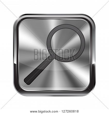 Metal button. With chrome frame. Search icon. Vector illustration isolated on white background