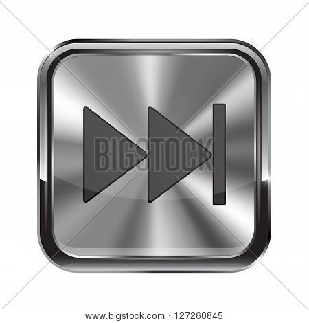 Metal button. With chrome frame. Fast forward icon. Vector illustration isolated on white background