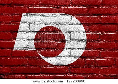 Flag Of Kumamoto, Japan, Painted On Brick Wall