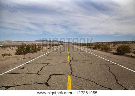 A deserted view of Route 66 in California