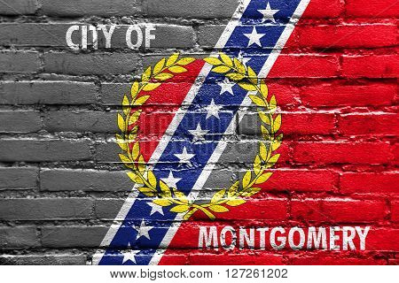 Flag Of Montgomery, Alabama, Painted On Brick Wall