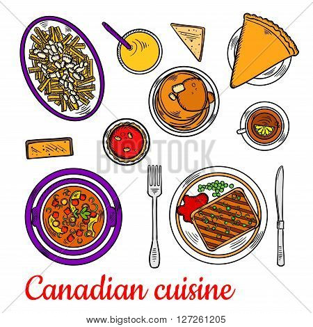 Traditional canadian poutine colored sketch symbol, served with grilled peameal bacon, chicken stew with dumplings, pancakes with maple syrup, red velvet cupcake and sugar pie with black tea and orange juice