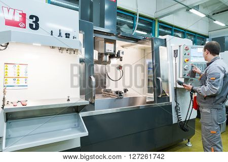 MOSCOW, RUSSIA - November 27, 2014 - Production of electronic components  at high-tech factory
