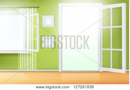 green room interior with white doors and windows