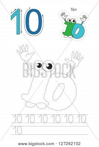 Vector exercise illustrated alphabet. Learn handwriting. Page to be traced. Complete english alphabet. Tracing worksheet for figure Ten