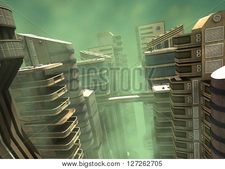 3D Illustration of a futuristic city in a green fog