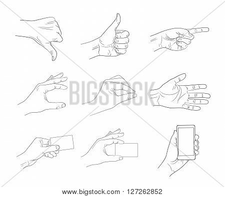 business hand gestures contour vector illustration hand driwe