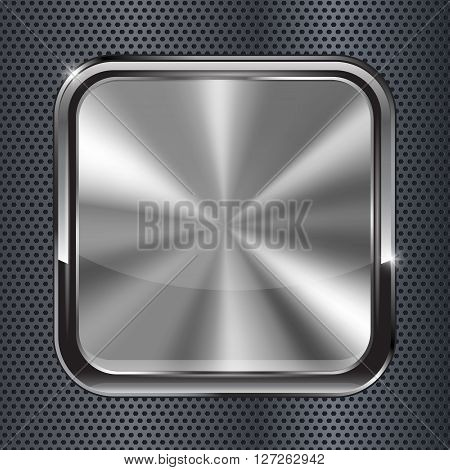 Square black metallic button. Vector illustration on metal perforated background