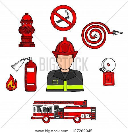 Colored sketch of fireman in protective uniform and red helmet with fire truck, water hose, hydrant, no smoking sign, flame and fire alarm. Great for fire protection theme or professions design usage