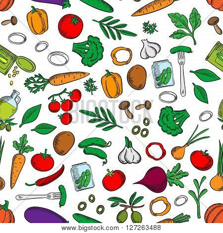 Seamless bright fresh and pickled vegetables pattern with tomatoes, olives, chilli and bell peppers, carrots, mushrooms, broccoli, potatoes, onions, garlic, cucumbers, beets and pumpkins, canned corn grains and pickles on white background among green spic