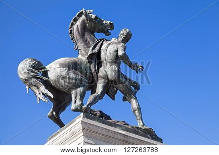 Bronze Statue Of The Horse Tamer In Vienna