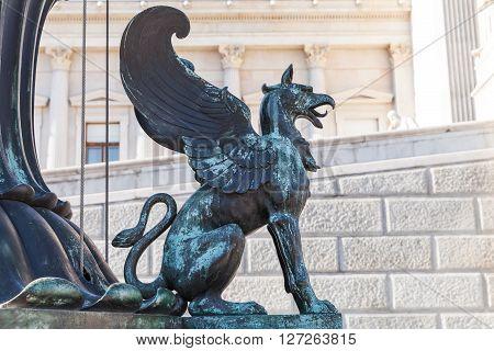 Bronze Statue Of Griffin, Vienna, Austria