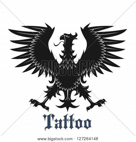 Heraldic eagle symbol for tattoo or coat of arms design usage with black bird in classic position with outstretched wings and legs, adorned by curved pointed feathers