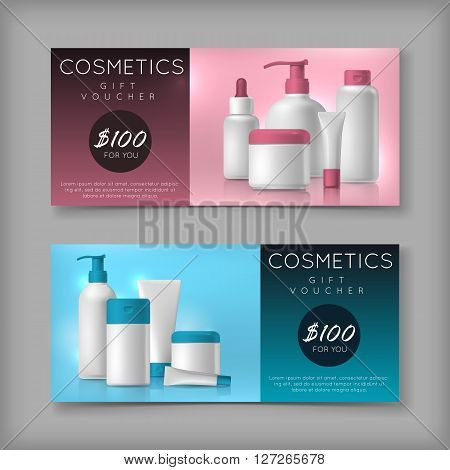 Cosmetic brand template on sale voucher. Vector packaging. Oil, lotion, shampoo on discount price. Advertisement flyer.