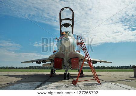 Vasilkov Ukraine - June 19 2010: Ukrainian Air Force MiG-29 fighter plane parked on the apron on the airbase