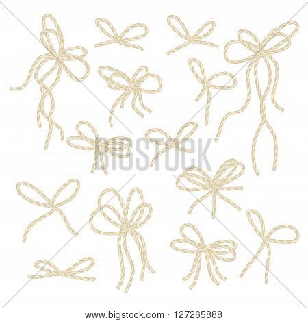 Collection of rope bows on white background