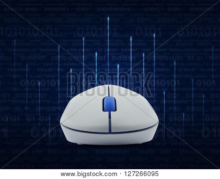 Wireless computer mouse over lighting line with computer binary code on blue background