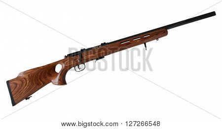 Bolt action rifle with a thumb hole stock isolated on white