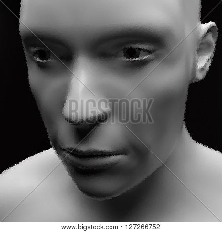 Cyborg, Android. Realistic Vector Humanoid Robot. View of Human Head. Stipple Effect. Pointillism Style. Face Scanning.