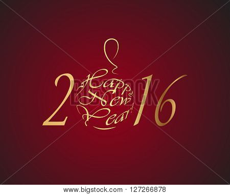Happy New Year 2016 gold lettersn on a rad background vector illustration