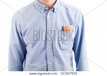Businessman With Money In Pocket Isolated