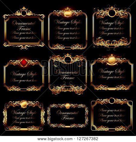 set of ornamental golden frames in vintage style on the black background