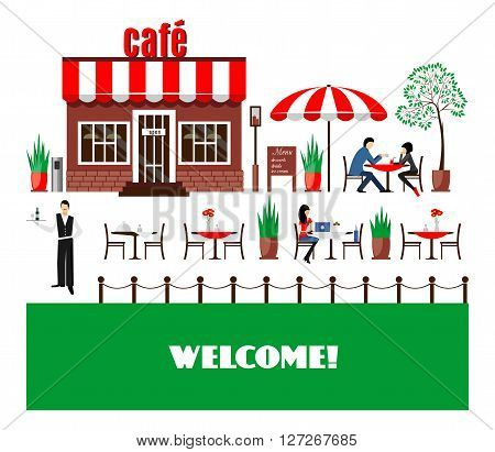 Restaurant or cafe illustration in flat style. Isometric  dinner building  with waitress and menu board standing nearby. Desserts, drinks, ice-cream. Vector icon isolated on white background