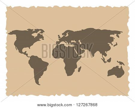 Old ancient demage world map vector illustration
