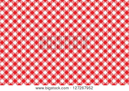 Red tablecloth diagonal background seamless pattern. Vector illustration of traditional gingham dining cloth with fabric texture. Checkered picnic cooking tablecloth.