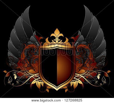 ornamental shield on a black background with wings and  leaves