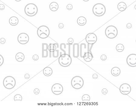 Smiley faces seamless background vector illustration white