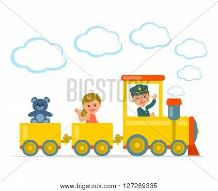 Children Journey. Cheerful boy and girl riding on a train. Children play a game with toys and train. Isolated vector illustration.
