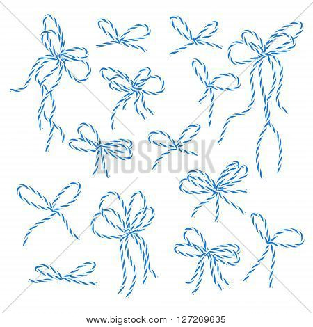 Collection of blue bakers twine bows on white background