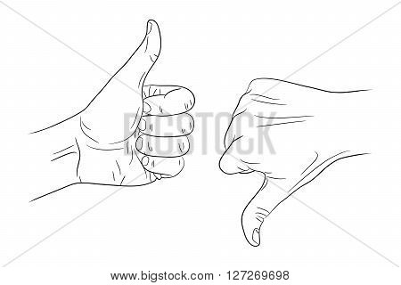 thumb up thumb down outline contour vector illustration